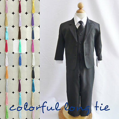 Black boy wedding formal party suit blue green neck long tie 6 pc set ALL SIZES