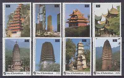 Gambia 1993 Taipei 93 Int. Stamp Exh. - Chineese Temples & Pagodas Mnh M8926