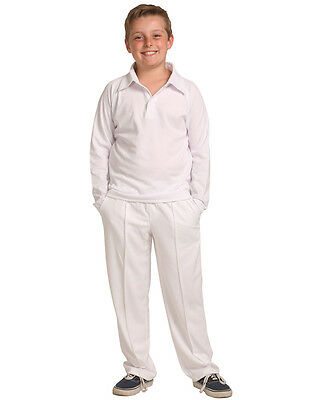Kids Boys Cricket Pants White 100% Polyester Breathable Sports CP29K