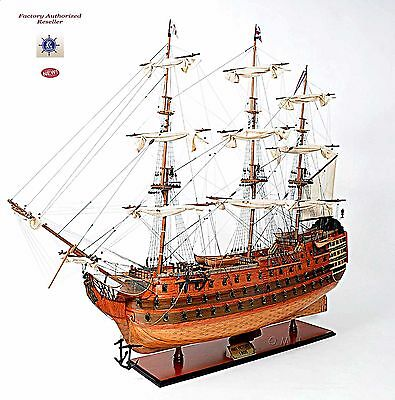 "HMS Victory Admiral Nelson Flagship Tall Ship 58"" Wood Model Sailboat Assembled"
