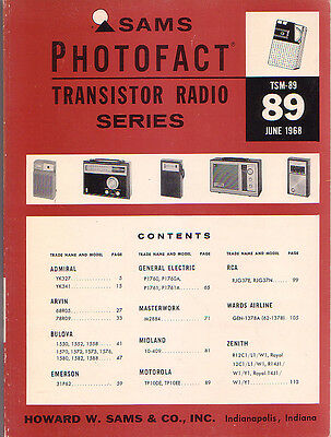 SAMS Photofact Transistor Radio Series Repair Manual TSM-89