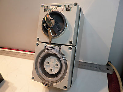 CLIPSAL SWITCHED OUTLET w/KEY LOCK 56K1SW120 -- SINGLE PHASE 20amps