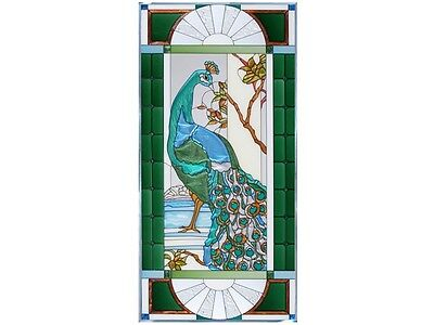 Peacock Left Right Facing Combination Hand Painted Stained Art Glass Suncatcher