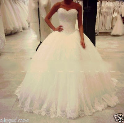 White Ivory Tulle Ball Gown Wedding Dress Bridal Gowns Custom Size 4 6 10 12 16+