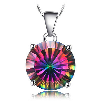 JewelryPalace 4ct ROUND Natural Fire Rainbow Coated Quartz Pendant 925 Silver