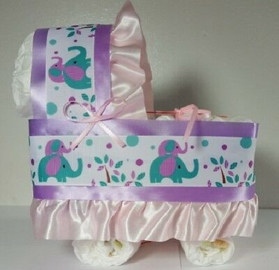 Diaper Cake Bassinet Carriage Baby Shower Gift for Girls - Purple/Pink Elephants