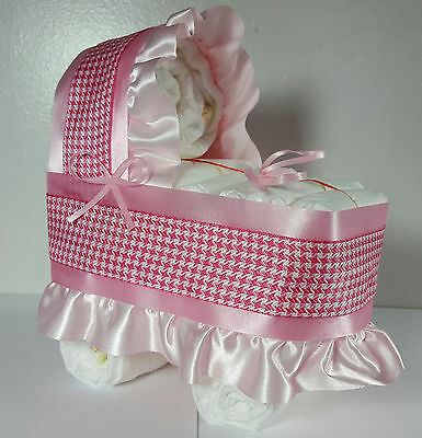 Diaper Cake Bassinet Carriage Baby Shower Gift for Girls - Pink and White