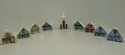 Vintage 9 Piece Christmas Plastic Light Up Alpine Village Houses Only