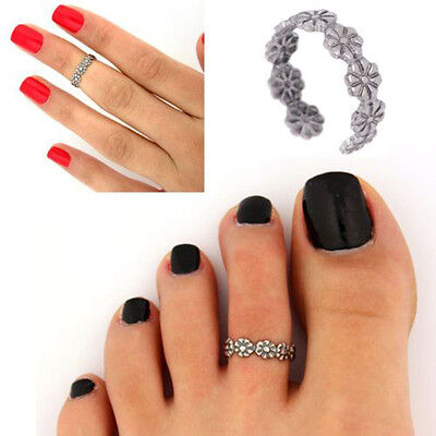 2X Celebrity Fashion Simple Retro Flower Design Adjustable Toe Ring Foot Jewelry