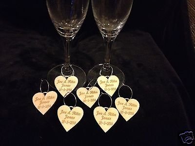Personalised Engraved Wooden Wedding Favours Hearts Glass Stem Table Favours