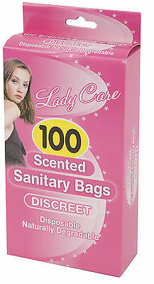 100 Disposable Degradable Scented Sanitary Bag Discreet Sanitary Bags