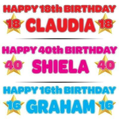 """2 PERSONALISED BIRTHDAY BANNER 3ft - 36 """"x 11"""" 1st 18th 21st 30th 40th GOLD STAR"""