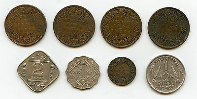 India Mixed Lot 8 Coins Ropee , Annas 1862 - 1954 VF/XF Condition !!!!