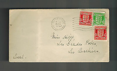 1943 Guernsey England Channel Islands Occupation Cover to Les Quartiers