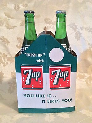 Vintage 7Up Bottle Set In Nos Carrier