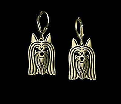 Australian Silky Terrier Dog Earrings-Fashion Jewellery Gold Plated, Leverback