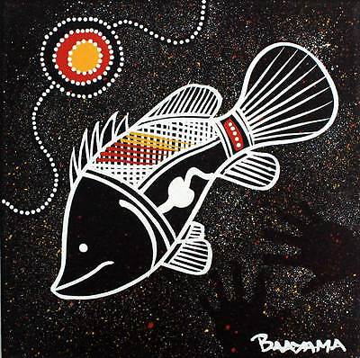 Authentic Hand Painted Aboriginal Artwork - Fish - Dots - Hand Prints - Direct