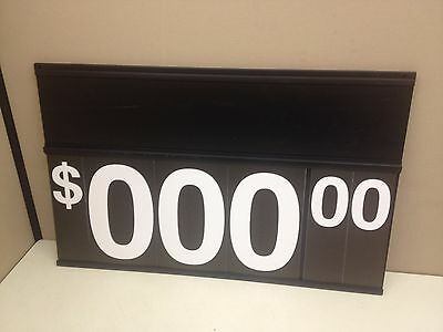 "LOT of 13 Black Plastic Price Sign 30"" x 19"" Spiral Flip Dollar Numbers Grocery"