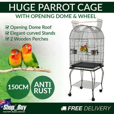 New 150cm Bird Cage Canary Parrot Budgie Pet Aviary Stand Wheel Open Roof Black