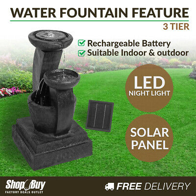 Solar Power Three-Tier Water Fountain Garden Water Feature LED Light Blue