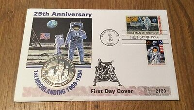 First Day Cover with $5 Coin - 25th Anniversary Of The 1st Moon Landing - 1969