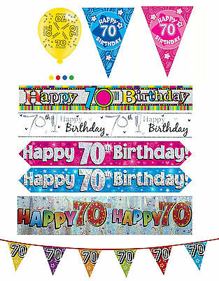 70th Birthday Boy Girl Pink Blue Party Banners Balloons Bunting Decorations