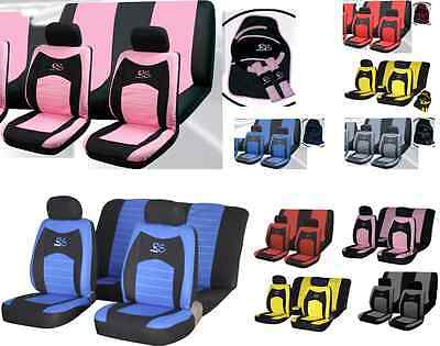 15pc Girly RACING car seat PINKcover set wheel glove covers pads mats UNIVERSAL