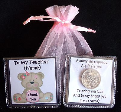 Personalised Lucky Sixpence Thank You Head Teacher Teaching Classroom Assistant