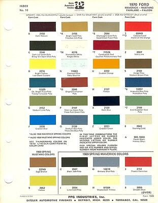 1970 Ford Maverick Mustang Fairlane Falcon Paint Chips Sheet (Ppg)