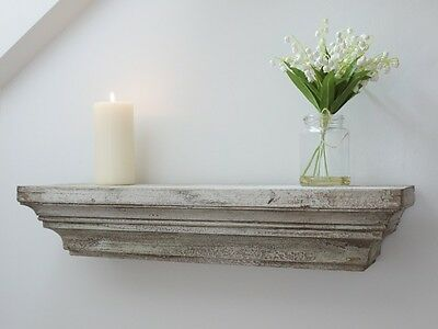 Shabby Chic Vintage Style Distressed Antique White Wall Wooden Floating Shelf
