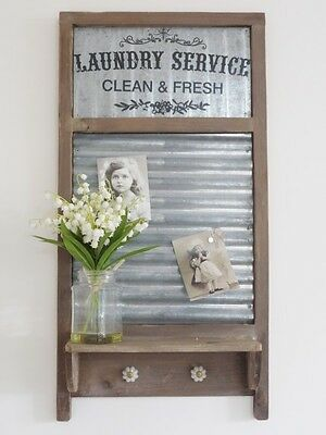 Shabby Chic Industrial Washboard Shelf Hooks and Magnetic Notice Memo Board