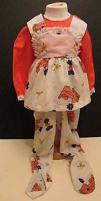 Childrens vintage PJ's NWT's 70's age 1 dog fabric design orange floral girls hi