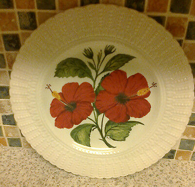 Royal Cauldon Handpainted Plate By Judy Cuninghame Hibiscus Beautiful Red Flower