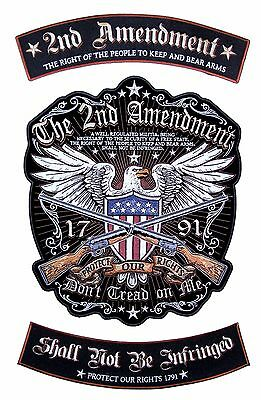 Patriotic The 2nd Amendment Gun Rights American Eagle 3 Pc Rocker Biker Patch
