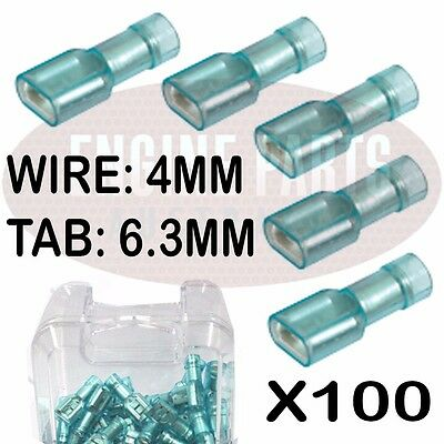 100 X Crimp Female Blade Insulated Transparent Terminals 4Mm Pack Of 100