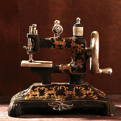 Vintage Antique Resin Sewing Machine Model Figurine Apparel Shop Clothing Stores
