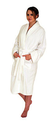 Brand New White 100% Cotton One Size Soft Men And Women Terry Toweling Bath Robe