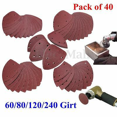 """40X 4"""" 60/80/120/240 Grit Mouse Sanding Sheet Discs Triangle Grinder Paper Pad"""