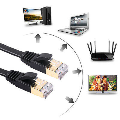 Cat7 Network LAN Cable SSTP RJ45 10Gbps Internet Flat Patch Cable High Speed New