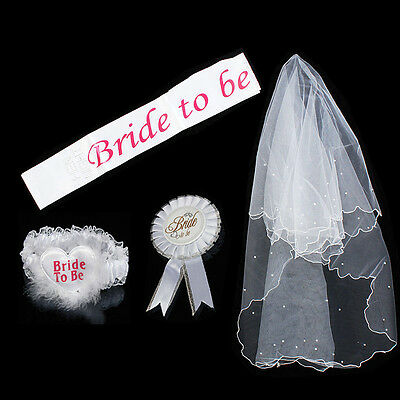 Bride to Be White Garter Sash Veil Badge Rosette Bachelorette Party Hen Night