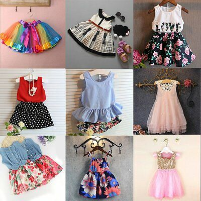 Toddler Kids Baby Girls Summer Lace Flower Dress Princess Party Pageant Dresses