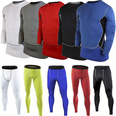 Mens Compression Under Baselayer Thermal Fitness Gym Long Sleeve T-Shirts Pants