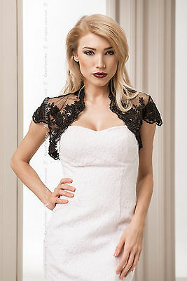 New Evening Party Wedding Black Lace Bolero Shrug Jacket Size 8 10 12 14