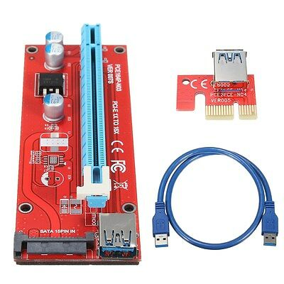 60cm USB3.0 PCI-E Express 1x To 16x Extender Riser Card Adapter SATA Power Cable