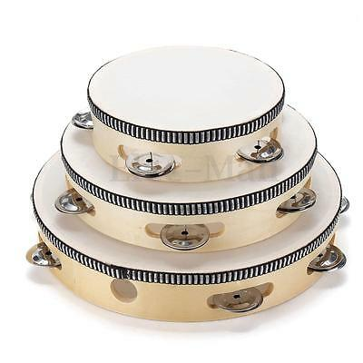 6''/8''/10'' Musical Tambourine With Head Drum Round Percussion for KTV Party