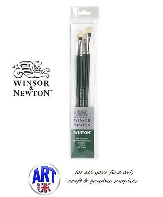 Winsor & Newton WINTON Oil/Acrylic Colour Artists Hog Paint Brush Set Long Handl