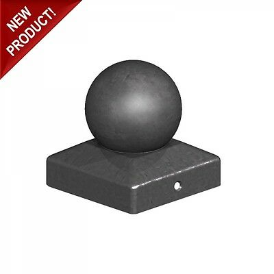 "75mm Epoxy Black Metal Round Ball Fence Finial Post Caps - For 3"" Posts"