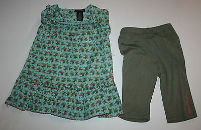 New Calvin Klein 2 Pc Ruffle Floral Tunic Top & Capri Leggings Outfit Sz 3T NWT