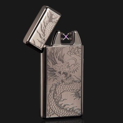 Black Dragon Electric Dual Arc Flameless USB Rechargeable Windproof Lighter