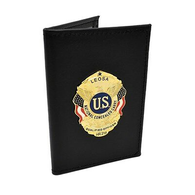 LEOSA Qualified Officer Badge Double ID Holder Leather Case Wallet HR218 CWP CCL